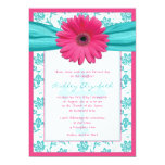 "Pink Blue Daisy Damask First Communion Invitation 5"" X 7"" Invitation Card"