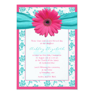 Pink Blue Daisy Damask First Communion Invitation