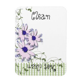 Pink Blue Daisy Flowers Green Gingham Dishwasher Magnet