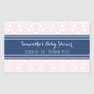 Pink Blue Damask Baby Shower Favor Stickers