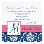 Pink Blue Damask Monogram Save the Date Card