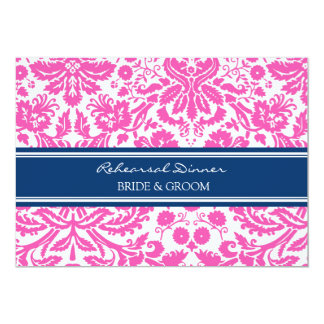 Pink Blue Damask Rehearsal Dinner Party 5x7 Paper Invitation Card