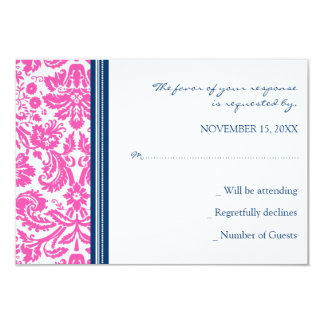 Pink Blue Damask RSVP Wedding Card