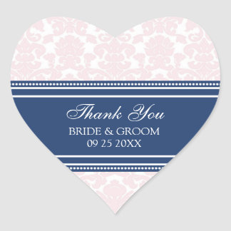 Pink Blue Damask Thank You Wedding Favor Tags