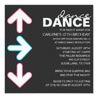 Pink/Blue Dance Dance Revolution Birthday Party 5.25x5.25 Square Paper Invitation Card