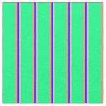 [ Thumbnail: Pink, Blue, Dark Salmon & Green Striped Pattern Fabric ]