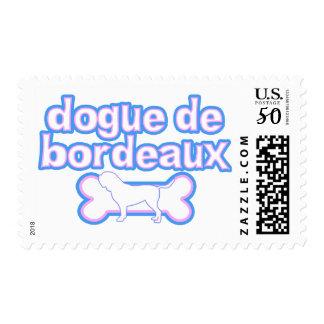 Pink & Blue Dogue de Bordeaux Postage Stamps
