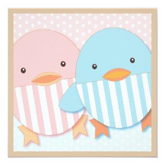 Pink & Blue Ducky Twin Boy & Girl Baby Shower Card