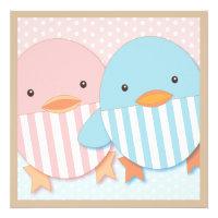 Pink & Blue Ducky Twin Boy & Girl Baby Shower Custom Announcement