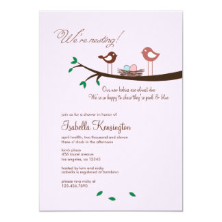 Pink & Blue Eggs Twins Baby Shower Invitation