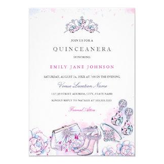 Pink Blue Elegant Crystal Quinceanera Invite