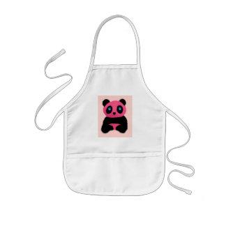 Pink blue-eyed panda aprons