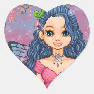 Pink & Blue Faery Pixel Art Heart Sticker