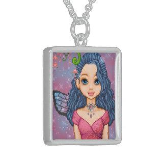 Pink & Blue Faery Pixel Art Square Pendant Necklace
