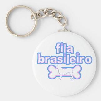 Pink & Blue Fila Brasileiro Basic Round Button Keychain