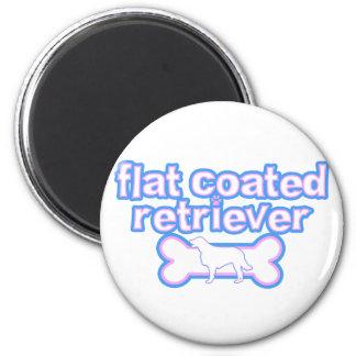 Pink & Blue Flat Coated Retriever Fridge Magnet