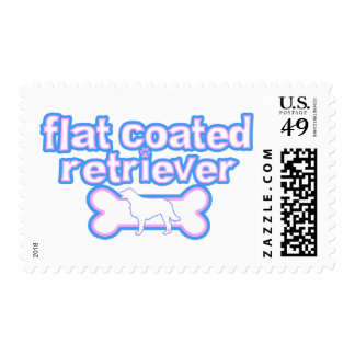 Pink & Blue Flat Coated Retriever Postage Stamps