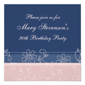 Pink Blue Floral 90th Birthday Party Invitations