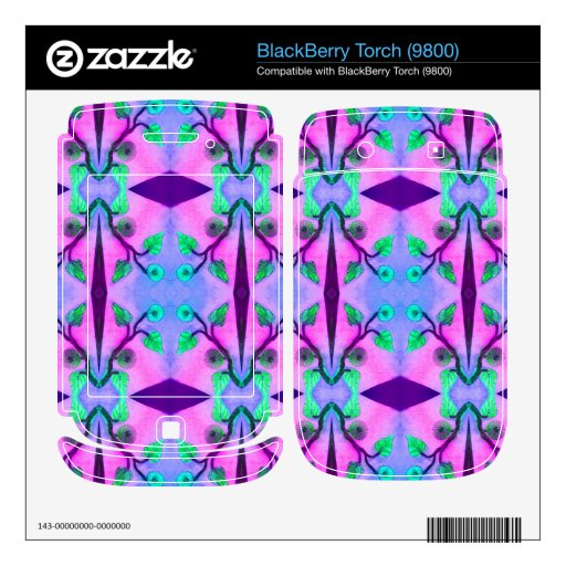 pink blue floral abstract decal for BlackBerry