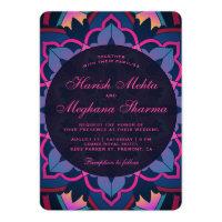 Pink Blue Floral Mandala Indian Wedding Invitation