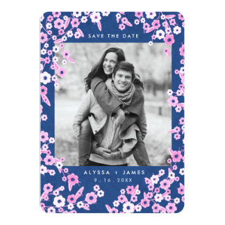 Pink & Blue Floral Photo Save the Dates Card
