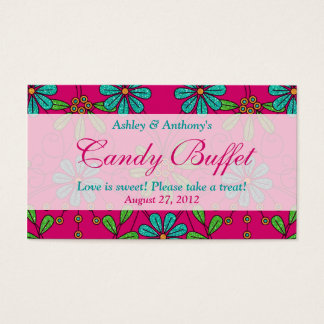 Pink Blue Floral Wedding Candy Buffet Gift Cards