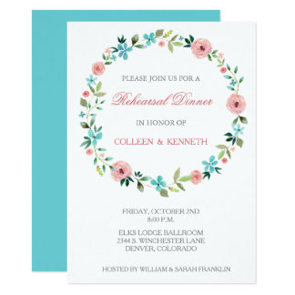 Pink Blue Floral Wreath Wedding Rehearsal Dinner Card