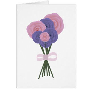 Pink & Blue Flowers Greeting Card