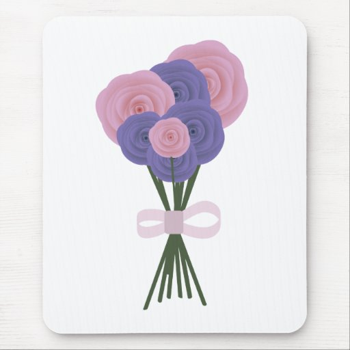 Pink & Blue Flowers Mouse Pad