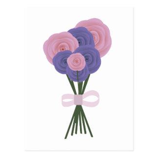 Pink & Blue Flowers Postcard