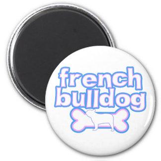 Pink & Blue French Bulldog Fridge Magnet