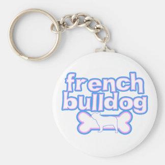 Pink & Blue French Bulldog Key Chains
