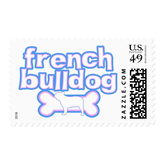 Pink & Blue French Bulldog Postage Stamps