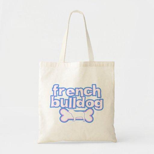 Pink & Blue French Bulldog Tote Bag