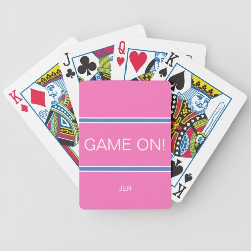Pink  Blue GAME ON Quote Custom Monogram Initials Bicycle Playing Cards