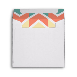 Pink Blue Geometric Design Abstract Zigzag Pattern Envelope