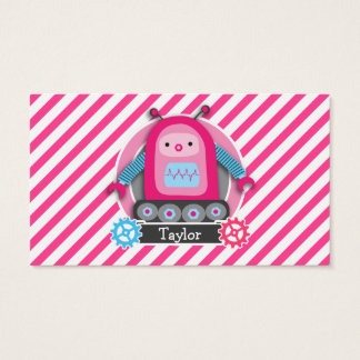Pink & Blue Girl Robot; Pink & White Stripes Business Card