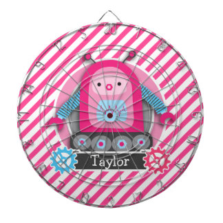 Pink & Blue Girl Robot; Pink & White Stripes Dart Boards