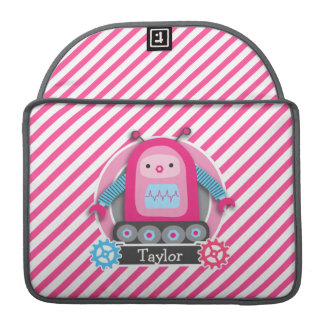 Pink & Blue Girl Robot; Pink & White Stripes MacBook Pro Sleeve