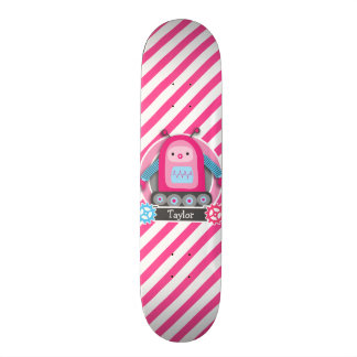 Pink & Blue Girl Robot; Pink & White Stripes Skate Boards