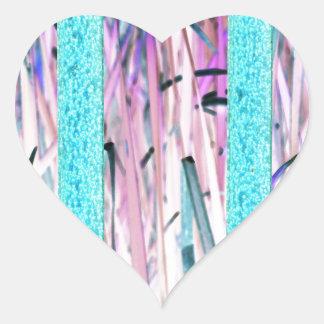 Pink Blue Girly Nature Art Heart Sticker
