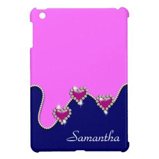 Pink blue glitter heart iPad mini cases