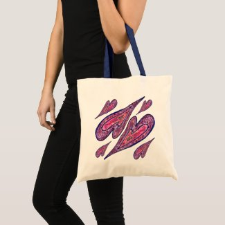 Pink Blue Glitter Hearts Art CustomTote Bag