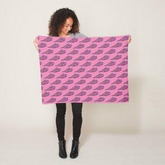 Pink Blue Glitter Hearts Art Fleece Throw Blanket