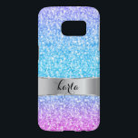"Pink & Blue Glitter Texture Print Samsung Galaxy S7 Case<br><div class=""desc"">Elegant simple colorful retro glitter and sparkles. Pink purple and blue gradient tones glitter. Customizable monogram with silver bar accents.</div>"