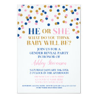 Pink Blue Gold Confetti Gender Reveal Shower Card