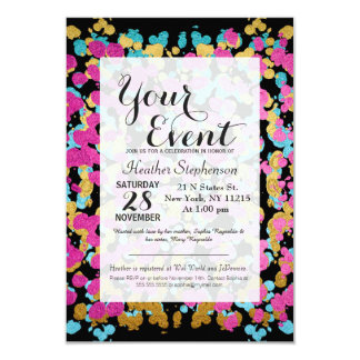 Pink, Blue, & Gold Faux Sparkly Paint Splatter Card