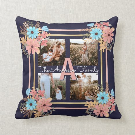 Pink Blue Gold Floral Framed Family Monogram Photo Throw Pillow