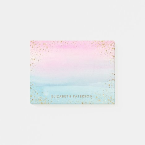 Pink Blue Gold Ombre Watercolor | Add Name Post-it Notes