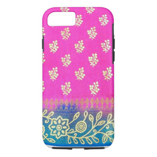 Pink Blue Gold Sari iPhone 7 case